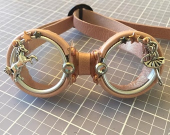 OOAK Blythe Rose Gold Steampunk Goggles by Kaleidoscope Kustoms
