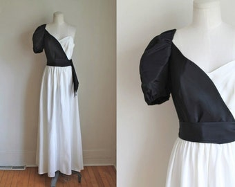 50% OFF...last call // vintage 1980s evening gown - OPPOSITES ATTRACT black & white party dress / xs