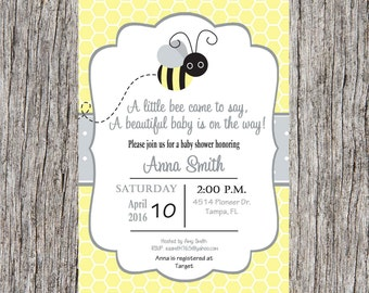 Bee Baby Shower Invitation, bumble bee baby shower invitation, bee baby, gender neutral