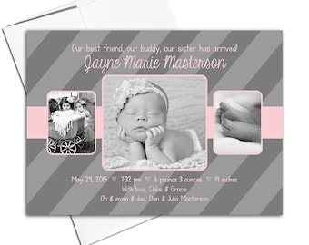 Photo birth announcement cards girls | pink and gray baby announcements | sisters - WLP00110