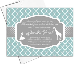 Giraffe baby shower invitations gender neutral baby shower invite giraffe | mint and gray | quatrefoil | DIY printable - WLP00724