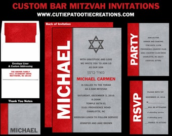 Red, Grey and White Bar Mitzvah Invitations, Save the Date Cards, RSVP, Thank You Notes, Envelope Addressing - Use for ANY EVENT