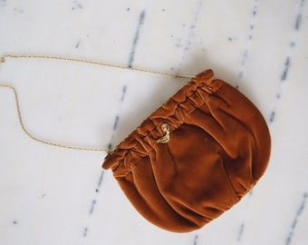 Vintage Rust Velvet Handbag with Chain Handle