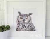 Owl Portrait Painting Print || 8x8 Print of Original Acrylic on Canvas Painting