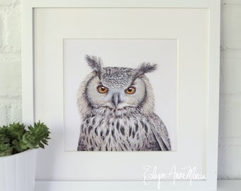 Owl Portrait Painting Print || 8x8 Print of Original Acrylic on Canvas Painting