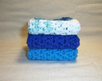 "Set of 3 Handmade Crochet Dish/Bath Cloths,Wash Cloths-7' x 7"" 100% Cotton-Ready To Ship"