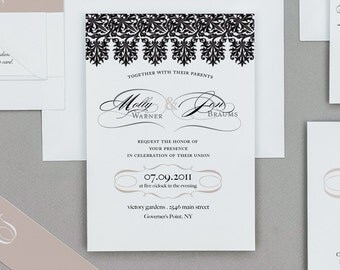 Vintage French Black Lace Wedding Invitation,Lace Wedding Invitation,Vintage Modern Wedding Invitations,Calligraphy and Lace Wedding Invites