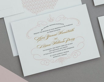 Romantic Monogram French Baroque Wedding Invitations Deposit,Traditional French Calligraphy Wedding Invitations,Blush Wedding Invitation Set