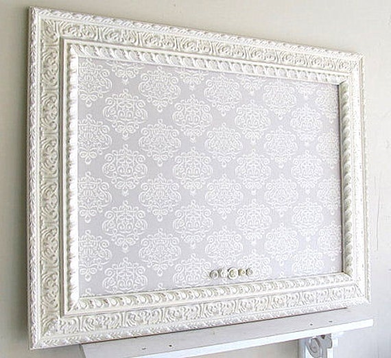 MEMO BOARD Fabric Magnetic Board Pinboard Ivory Grey Distressed Home Office Decor French Country Decor Bulletin Board Cork Board Kitchen