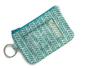 Student ID Holder w/Keychain/Id Badge Holder/Card Wallet/Keychain Coin Purse/Zipper Id Case/Herringbone Cotton and Steel Bluegreen Cream