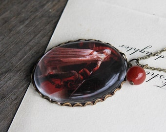 Accolade. Edmund Leighton. (magnifying pendant. art book illustration jewelry. antique romantic. knight queen medieval)