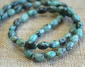 6x4mm Oval African Turquoise Blue Natural Gemstone Beads 16 Inches Strand