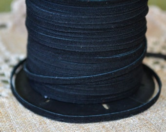 5 meters of 3mm x 0.5mm Genuine Black Flat Suede Leather Lace