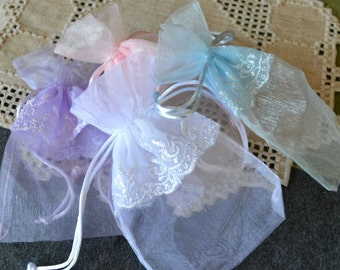 4 Organza Gift Pouch Bag Jewelry Bags 7 in Lace Details