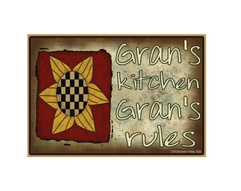 "Gran's Kitchen, Gran's Rules Sunflower Funny Grandmother Fridge Refrigerator Magnet 3.5"" X 2.5"""