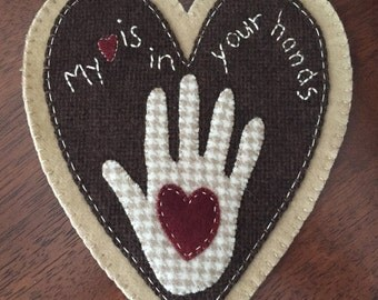 """HAND STITCHED Primitive Folk Art Wool Applique Table Mat - """"My Heart is in your Hands"""""""