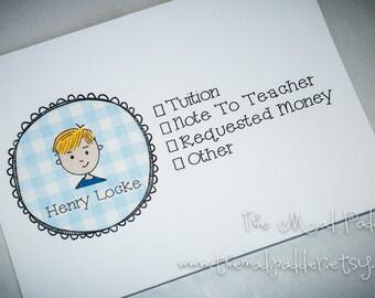 Kids' School Money or Note Envelopes - Custom Made