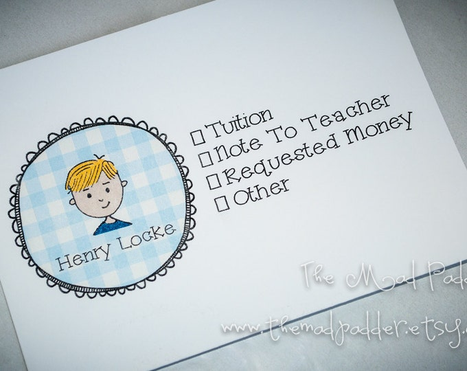 Kids' School Money or Note Envelopes - Custom Made