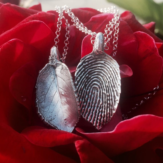 Custom sterling silver leaf pendant with a by for Fingerprint jewelry by first impressions