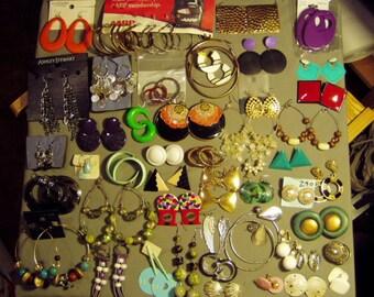 Vintage Lot 46 Pairs Pierced Earrings 1 Pair Screw Back & 8 Pairs Clip Earrings 8671