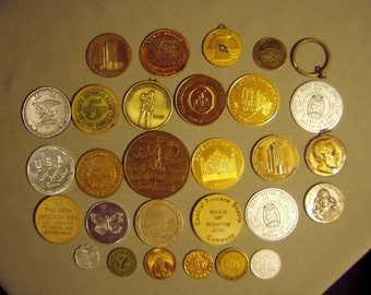 Vintage Lot 28 Old Tokens Advertising Las Vegas Achille Lauro Ship Marines NYC Fare Illinois Watch Co Denmark 8517