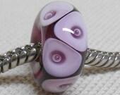 Handmade Large Hole Lampwork Bead European Charm Bracelet Bead, Transparent Purple With Bubble Dots