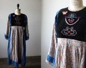 Vintage 60s Folk Dress Floral Embroidered Handmade Boho Hippie Bohemian Prairie Wide Angel Sleeves XS-S