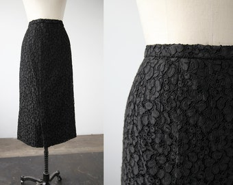 Vintage Black Lace Midi Calf Length Column Skirt Gothic 80s 90s Romantic S-M