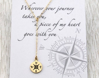 Gold Compass Lariat Necklace, Message Card, Compass Y Necklace, Retirement Gift, Graduation Gift, For Best Friends/Sisters/Daughters