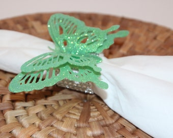 Butterflies Green Glittered Napkin Rings Set of 8