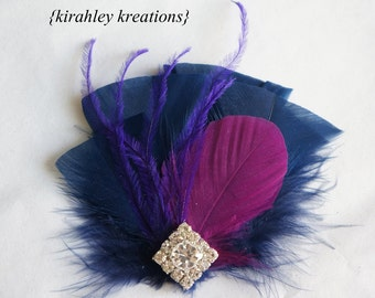 Fuchsia Purple Navy Feather Rhinestone Hair Clip Hairpiece Wedding Fascinator Bride Bridal Bridesmaid Prom EVANGELINE - Custom Colors