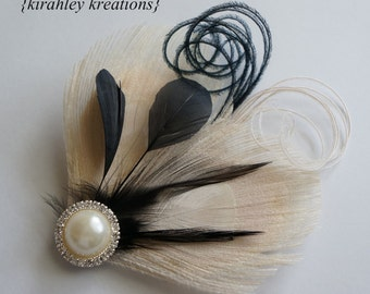 Champagne Ivory Black Peacock Feather Pearl Rhinestone Hair Clip Bridesmaid Bride MARLA Wedding Prom Fascinator Great Gatsby Headpiece