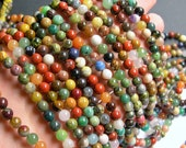 Gemstone mix - 6mm round beads - full strand - 67 beads - A quality - multi gemstone mix - RFG728