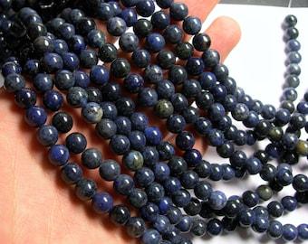 Dumortierite - 8 mm round beads -1 full strand - 48 beads - A quality dark - RFG611