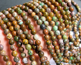 African Green opal - 6mm round beads - full strand - 65 beads - Chalcedony - RFG580