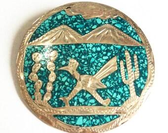 Vintage Mexican Turquoise Brooch... Sterling Silver... Cerro Blanco CG01