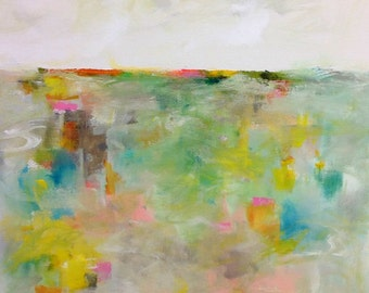 Colorful Abstract Landscape Original Painting -Meadowview 24 x 30