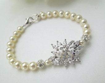 ivory Pearl Bracelet Bridal Rhinestone Bracelet Ivory swarovski Pearls Cubic Zirconia Bridal Pearl Bracelet Wedding Pearl Bracelet BLAKE