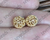 3pcs 24K Gold filled Brass Hollow Filigree Ball Spacer,10mm Connectors Jewelry Findings, brass spacers findings beads,Gold filled Spacers