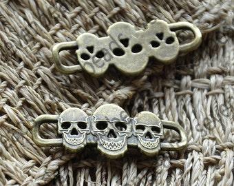 8 pcs Antique Bronze skull Bracelet Connectors Pendant ,Bracelet Connector pendant findings