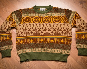 Sutton Place Ski Sweater, Earth Tones Aztec Hipster Shirt, Vintage 70s-80s