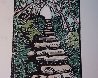 Hand-colored Mountain Path Block Print