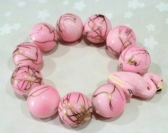 Pale Pink Flamingo 20mm Gold Paint Gumball Bead Couture Stretch Bracelet