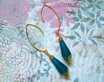 Teal Blue and Gold Sea Glass Teardrop Earrings (2768)