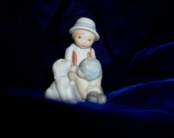 Vintage Holly Hobbie Miniature Ceramic Figure Boy Puppy Dog Ball Figurine