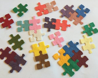 Wool Felt Puzzle Pieces -24 Piece Set of Random Colors 3248 - Feltboard - DIY - Felt Supplies