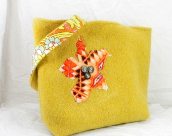 Handmade Wool Tote, Floral Motif, Yellow Felted Purse, Amy Butler, Winter Bag, Tote Bag, Carry All, Large Purse, Winter Accessory