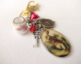 Alice in Wonderland inspired bag charm/zipper pull - Ordinary Rabbit (Jug)