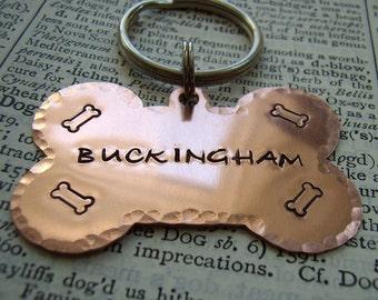 Copper dog bone pet ID tag, custom hand stamped dog name ID tag,