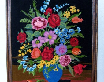 Needlepoint Floral Picture
